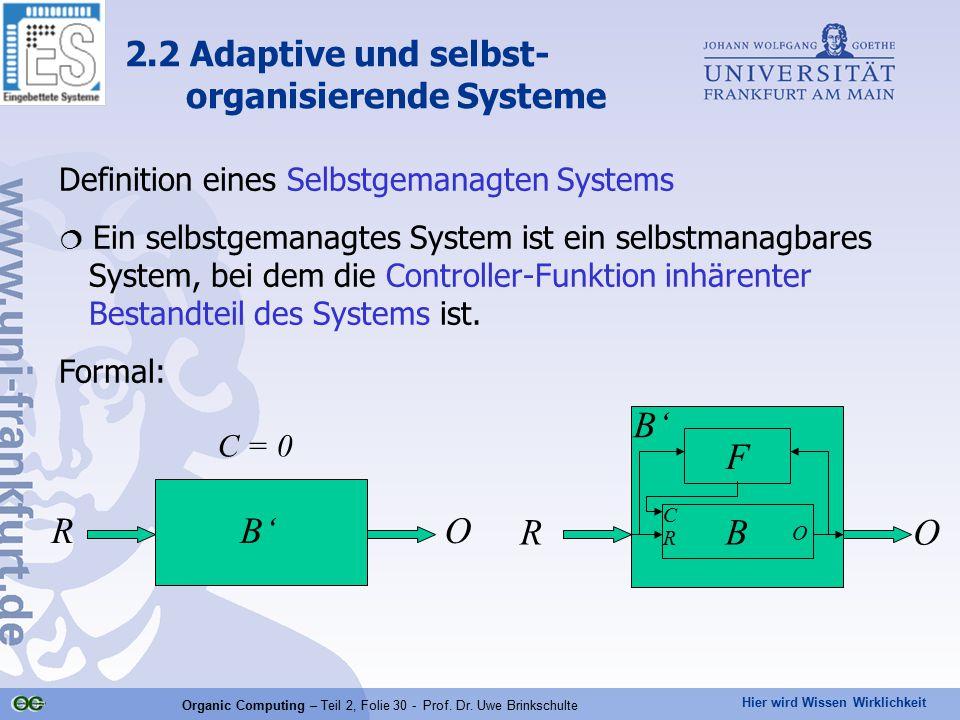 Hier wird Wissen Wirklichkeit Organic Computing – Teil 2, Folie 30 - Prof. Dr. Uwe Brinkschulte Definition eines Selbstgemanagten Systems  Ein selbst