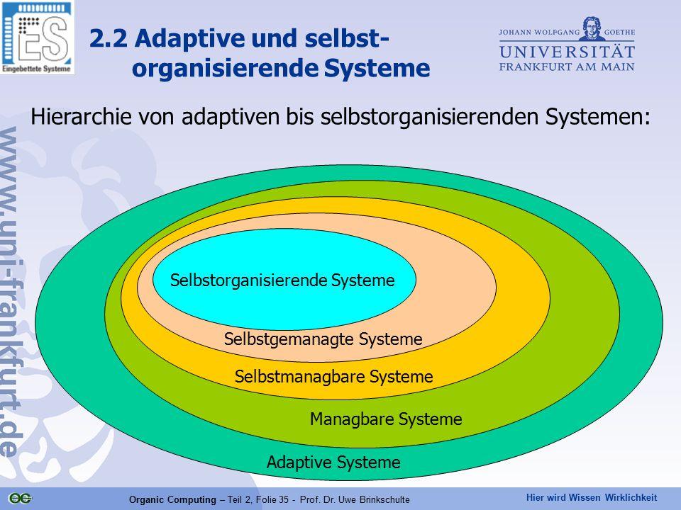 Hier wird Wissen Wirklichkeit Organic Computing – Teil 2, Folie 35 - Prof. Dr. Uwe Brinkschulte Hierarchie von adaptiven bis selbstorganisierenden Sys