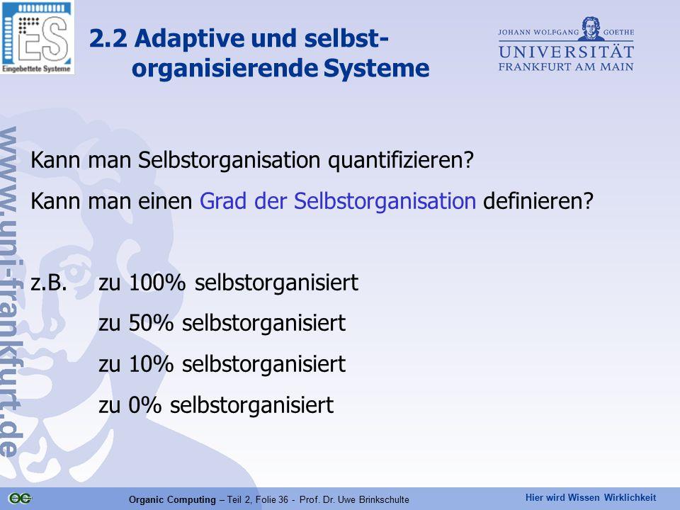 Hier wird Wissen Wirklichkeit Organic Computing – Teil 2, Folie 36 - Prof. Dr. Uwe Brinkschulte Kann man Selbstorganisation quantifizieren? Kann man e