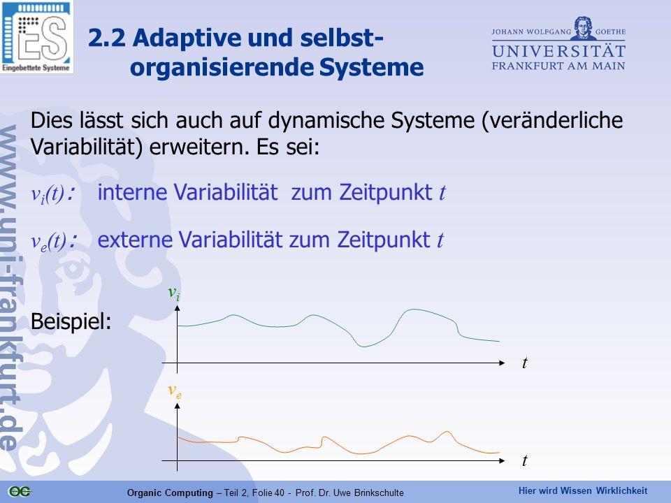 Hier wird Wissen Wirklichkeit Organic Computing – Teil 2, Folie 40 - Prof. Dr. Uwe Brinkschulte Dies lässt sich auch auf dynamische Systeme (veränderl