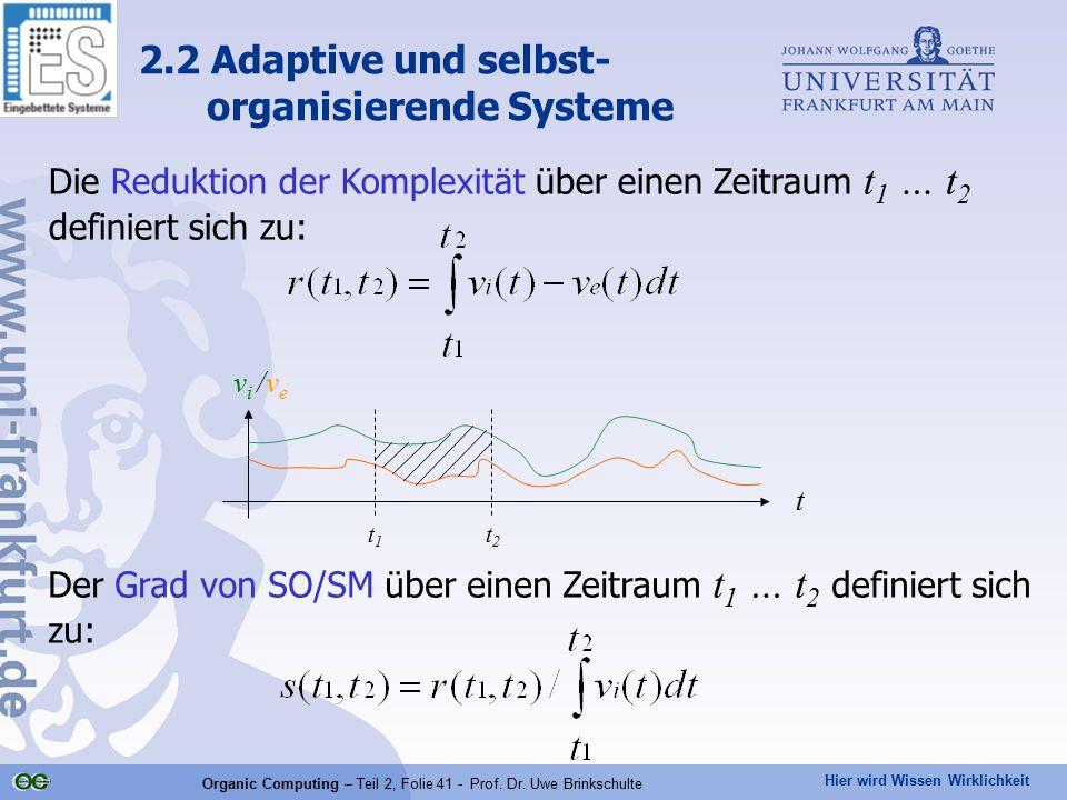 Hier wird Wissen Wirklichkeit Organic Computing – Teil 2, Folie 41 - Prof. Dr. Uwe Brinkschulte Die Reduktion der Komplexität über einen Zeitraum t 1
