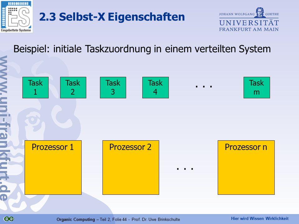 Hier wird Wissen Wirklichkeit Organic Computing – Teil 2, Folie 44 - Prof. Dr. Uwe Brinkschulte Beispiel: initiale Taskzuordnung in einem verteilten S