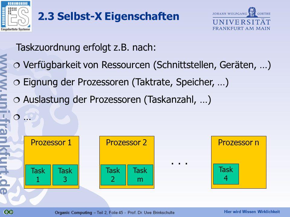 Hier wird Wissen Wirklichkeit Organic Computing – Teil 2, Folie 45 - Prof. Dr. Uwe Brinkschulte Taskzuordnung erfolgt z.B. nach:  Verfügbarkeit von R