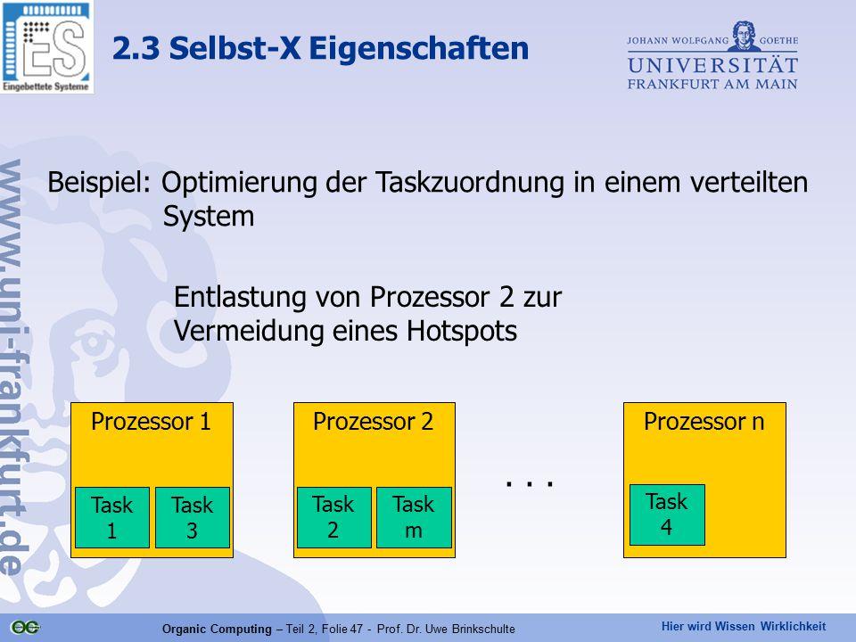 Hier wird Wissen Wirklichkeit Organic Computing – Teil 2, Folie 47 - Prof. Dr. Uwe Brinkschulte Beispiel: Optimierung der Taskzuordnung in einem verte