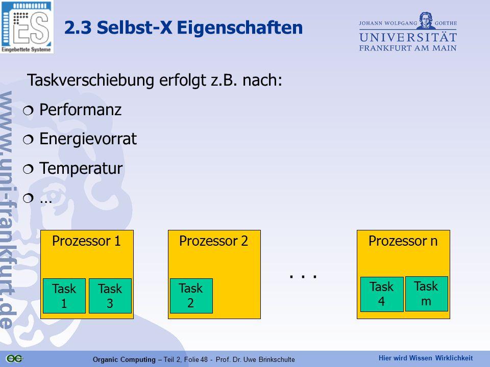 Hier wird Wissen Wirklichkeit Organic Computing – Teil 2, Folie 48 - Prof. Dr. Uwe Brinkschulte 2.3 Selbst-X Eigenschaften Prozessor 1Prozessor 2Proze