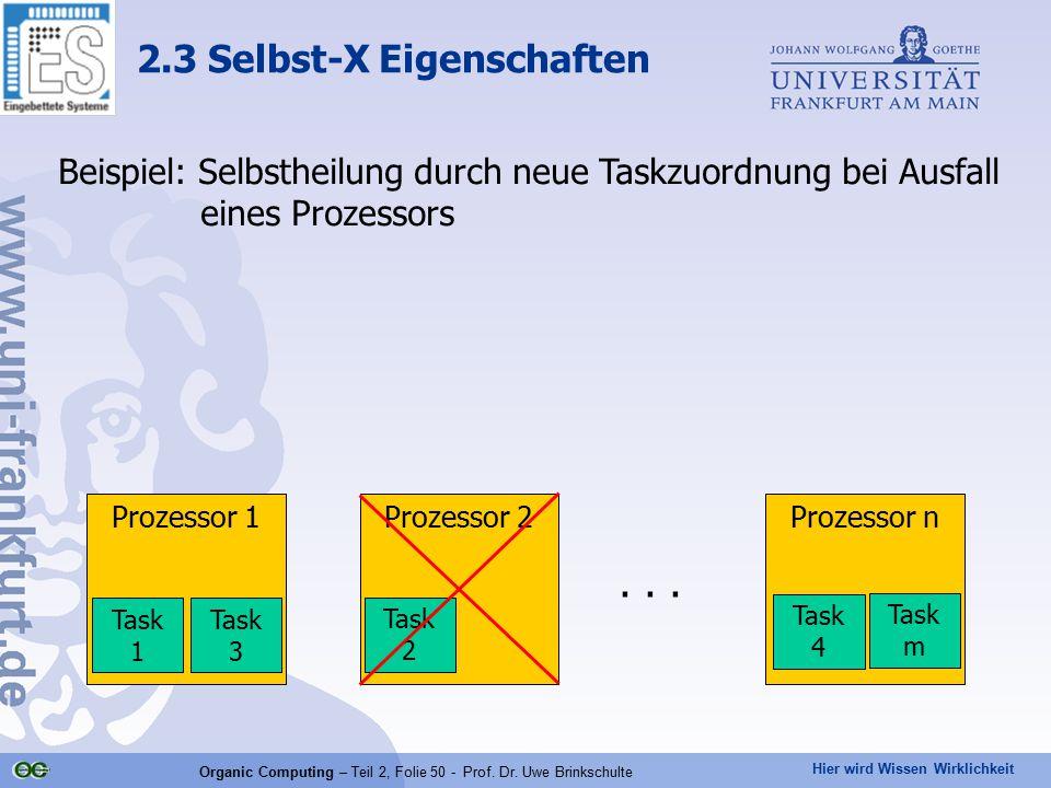 Hier wird Wissen Wirklichkeit Organic Computing – Teil 2, Folie 50 - Prof. Dr. Uwe Brinkschulte 2.3 Selbst-X Eigenschaften Prozessor 1Prozessor 2Proze