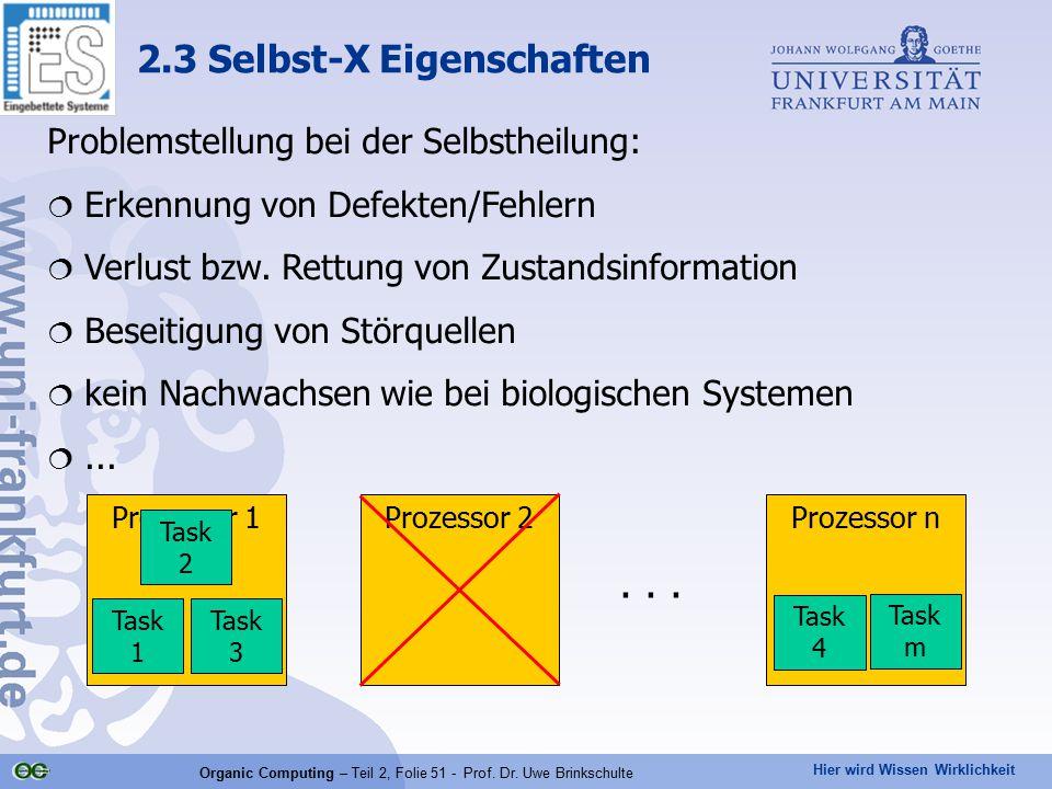 Hier wird Wissen Wirklichkeit Organic Computing – Teil 2, Folie 51 - Prof. Dr. Uwe Brinkschulte 2.3 Selbst-X Eigenschaften Prozessor 1Prozessor 2Proze