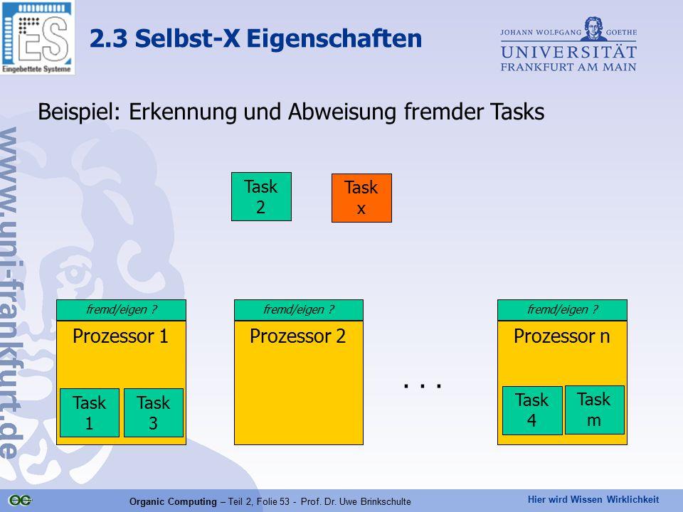 Hier wird Wissen Wirklichkeit Organic Computing – Teil 2, Folie 53 - Prof. Dr. Uwe Brinkschulte 2.3 Selbst-X Eigenschaften Prozessor 1Prozessor 2Proze