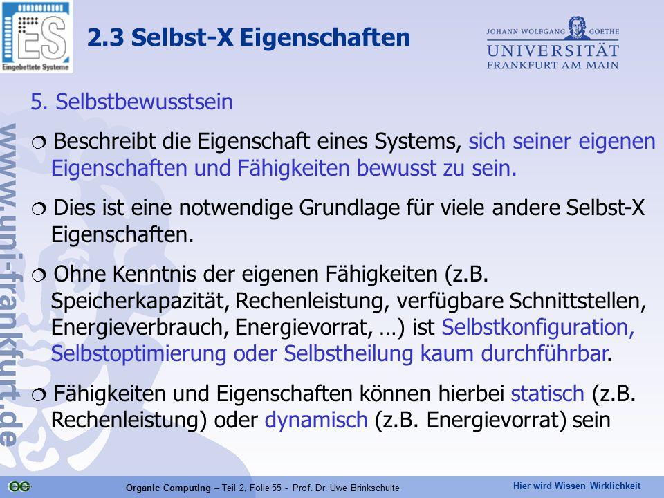 Hier wird Wissen Wirklichkeit Organic Computing – Teil 2, Folie 55 - Prof. Dr. Uwe Brinkschulte 5. Selbstbewusstsein  Beschreibt die Eigenschaft eine