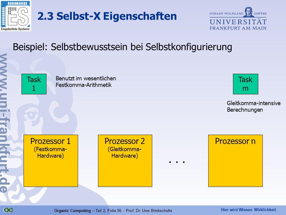 Hier wird Wissen Wirklichkeit Organic Computing – Teil 2, Folie 56 - Prof. Dr. Uwe Brinkschulte Beispiel: Selbstbewusstsein bei Selbstkonfigurierung 2