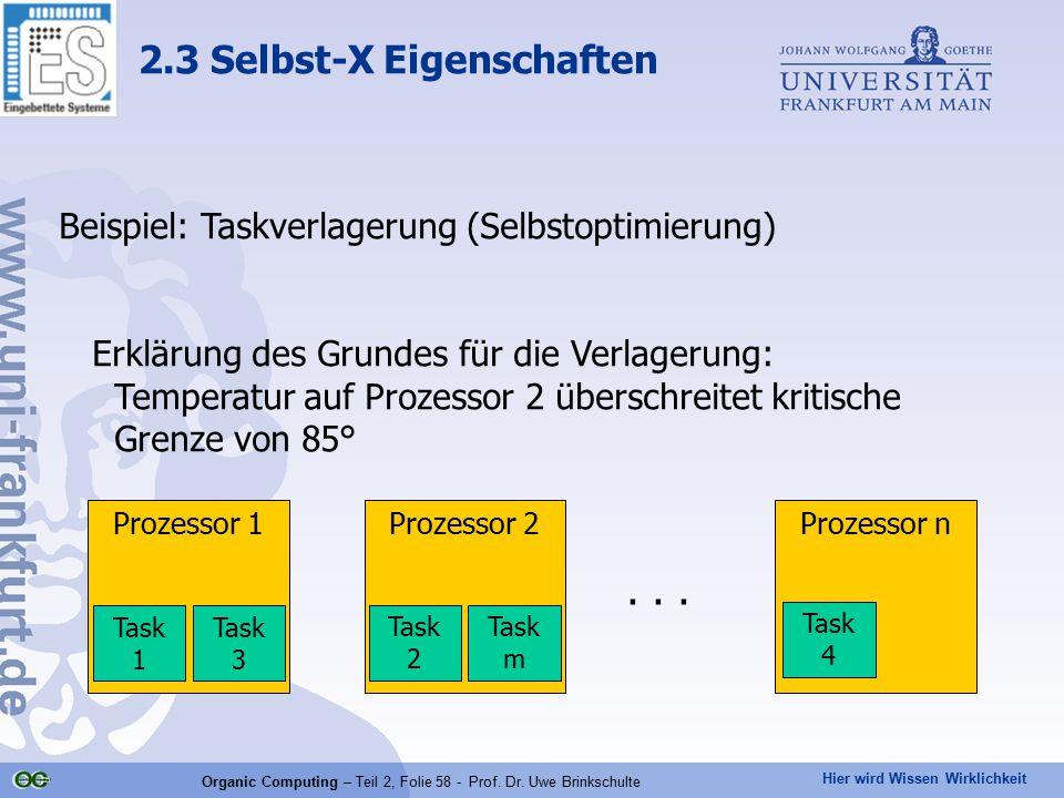 Hier wird Wissen Wirklichkeit Organic Computing – Teil 2, Folie 58 - Prof. Dr. Uwe Brinkschulte Beispiel: Taskverlagerung (Selbstoptimierung) Erklärun