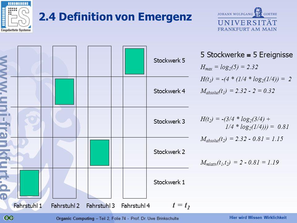 Hier wird Wissen Wirklichkeit Organic Computing – Teil 2, Folie 74 - Prof. Dr. Uwe Brinkschulte 2.4 Definition von Emergenz Stockwerk 1 Stockwerk 2 St