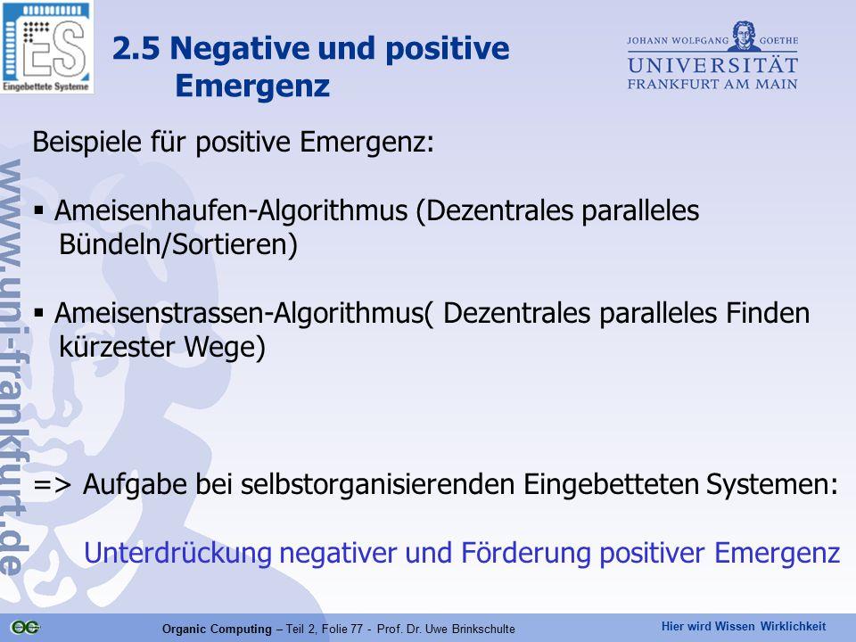 Hier wird Wissen Wirklichkeit Organic Computing – Teil 2, Folie 77 - Prof. Dr. Uwe Brinkschulte Beispiele für positive Emergenz:  Ameisenhaufen-Algor