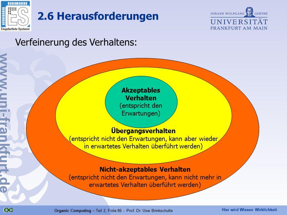 Hier wird Wissen Wirklichkeit Organic Computing – Teil 2, Folie 86 - Prof. Dr. Uwe Brinkschulte Verfeinerung des Verhaltens: 2.6 Herausforderungen Akz