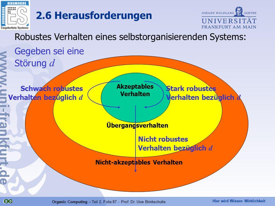 Hier wird Wissen Wirklichkeit Organic Computing – Teil 2, Folie 87 - Prof. Dr. Uwe Brinkschulte Robustes Verhalten eines selbstorganisierenden Systems
