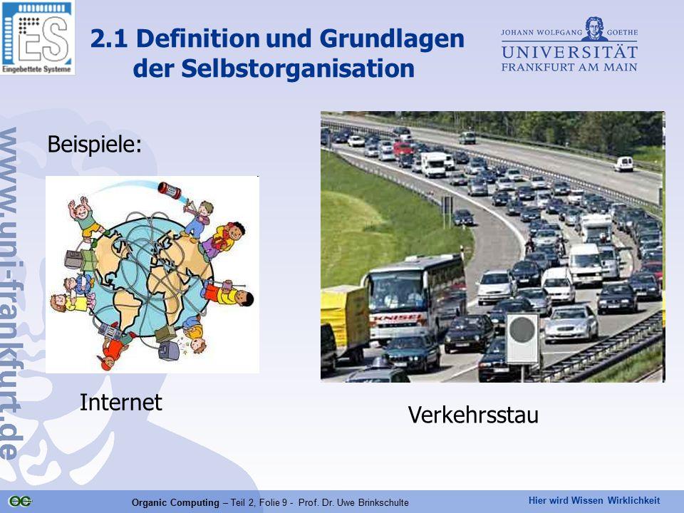 Hier wird Wissen Wirklichkeit Organic Computing – Teil 2, Folie 9 - Prof. Dr. Uwe Brinkschulte Beispiele: 2.1 Definition und Grundlagen der Selbstorga