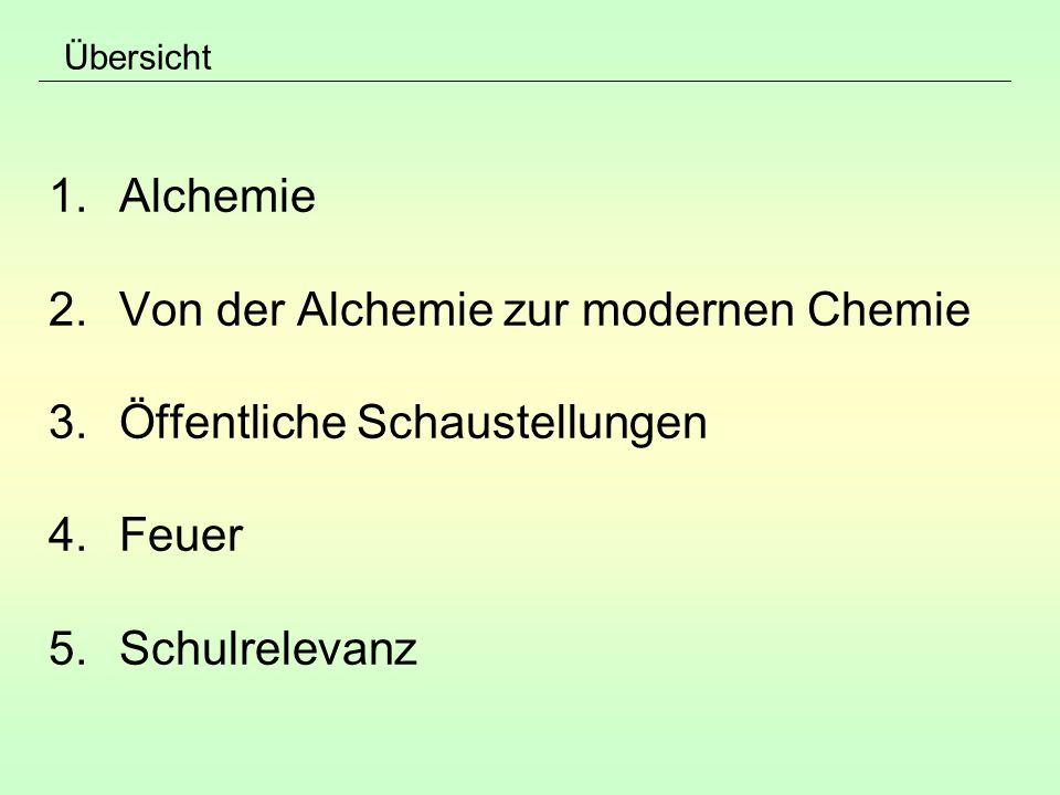 Übersicht 1.Alchemie 2.Von der Alchemie zur modernen Chemie 3.Öffentliche Schaustellungen 4.Feuer 5.Schulrelevanz