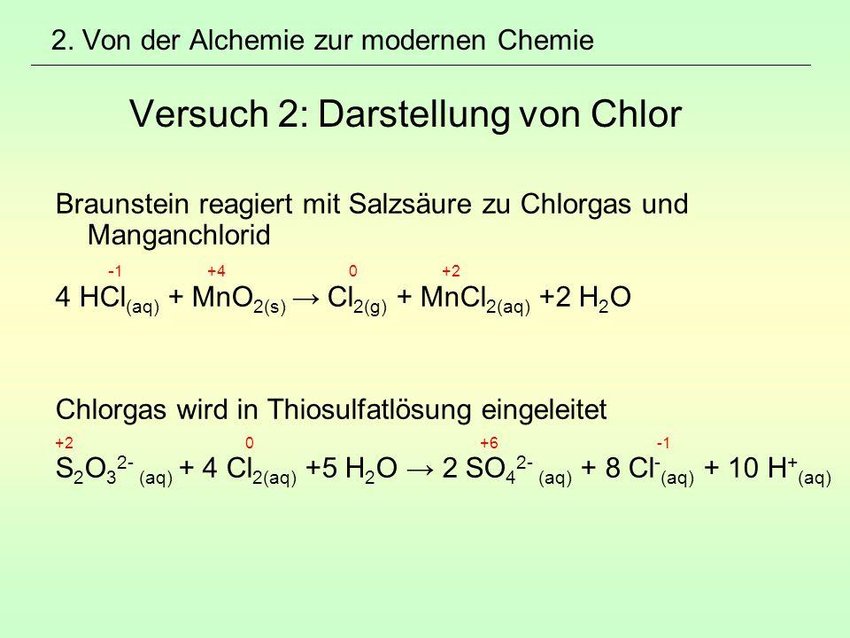 2. Von der Alchemie zur modernen Chemie Versuch 2: Darstellung von Chlor Braunstein reagiert mit Salzsäure zu Chlorgas und Manganchlorid - 1 +4 0 +2 4