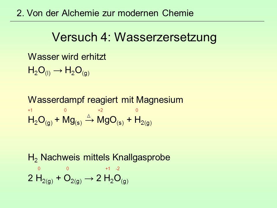 2. Von der Alchemie zur modernen Chemie Versuch 4: Wasserzersetzung Wasser wird erhitzt H 2 O (l) → H 2 O (g) Wasserdampf reagiert mit Magnesium +1 0
