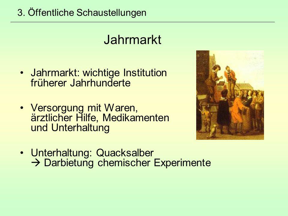 3. Öffentliche Schaustellungen Jahrmarkt Jahrmarkt: wichtige Institution früherer Jahrhunderte Versorgung mit Waren, ärztlicher Hilfe, Medikamenten un