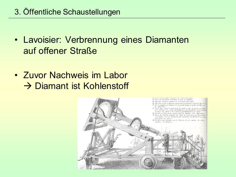 3. Öffentliche Schaustellungen Lavoisier: Verbrennung eines Diamanten auf offener Straße Zuvor Nachweis im Labor  Diamant ist Kohlenstoff