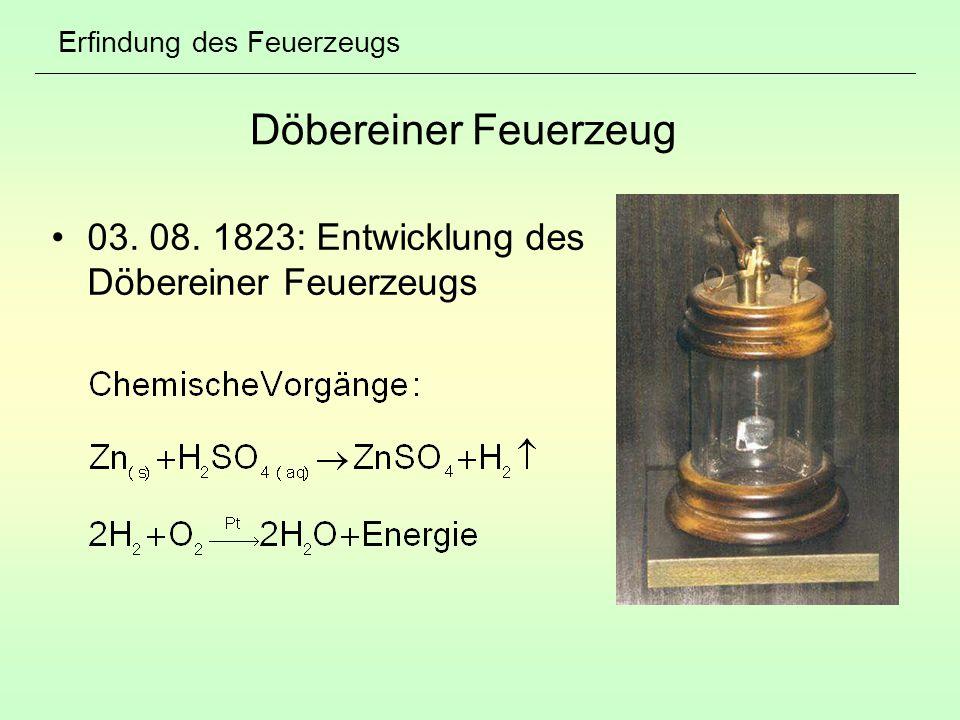 Erfindung des Feuerzeugs Döbereiner Feuerzeug 03. 08. 1823: Entwicklung des Döbereiner Feuerzeugs
