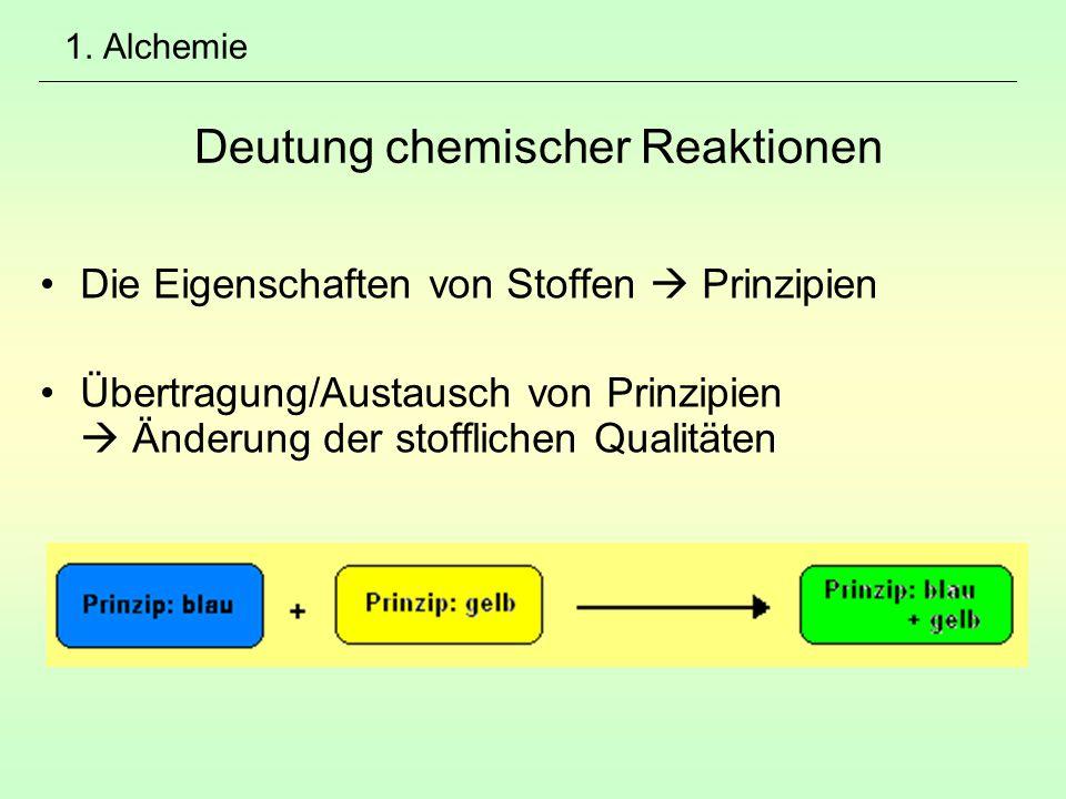 1. Alchemie Deutung chemischer Reaktionen Die Eigenschaften von Stoffen  Prinzipien Übertragung/Austausch von Prinzipien  Änderung der stofflichen Q