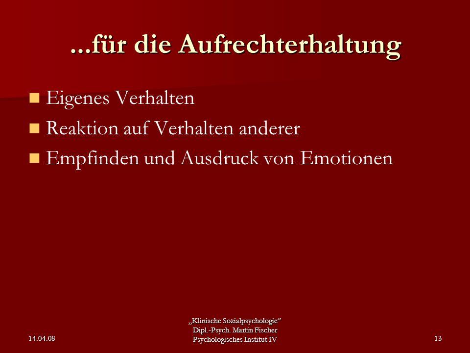 """""""Klinische Sozialpsychologie"""" Dipl.-Psych. Martin Fischer Psychologisches Institut IV 14.04.0813...für die Aufrechterhaltung Eigenes Verhalten Reaktio"""