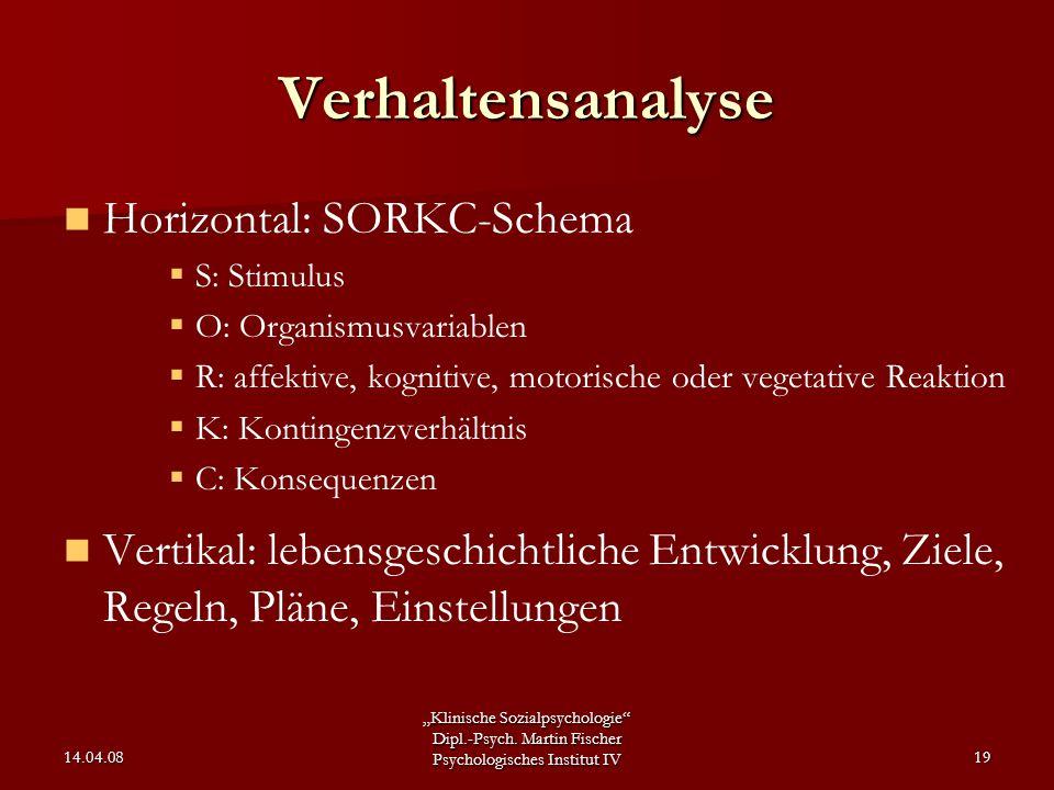 """""""Klinische Sozialpsychologie"""" Dipl.-Psych. Martin Fischer Psychologisches Institut IV 14.04.0819 Verhaltensanalyse Horizontal: SORKC-Schema  S: Stimu"""