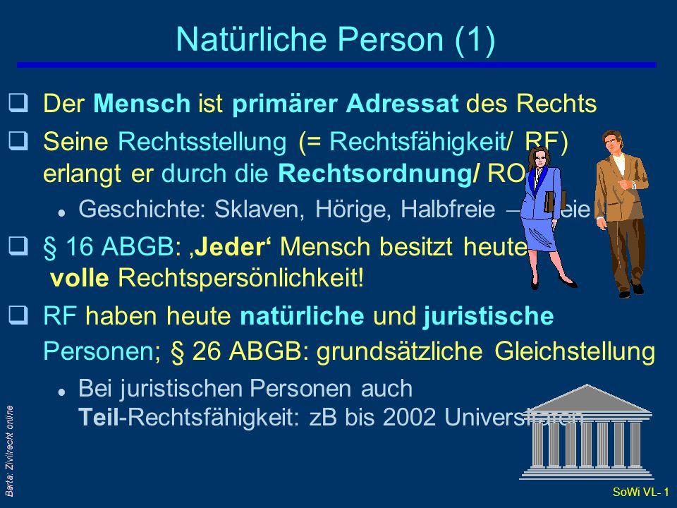 SoWi VL- 1 Barta: Zivilrecht online Natürliche Person (1) qDer Mensch ist primärer Adressat des Rechts qSeine Rechtsstellung (= Rechtsfähigkeit/ RF) e