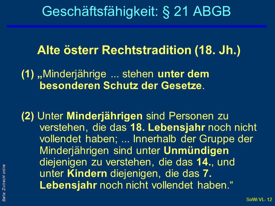 """SoWi VL- 12 Barta: Zivilrecht online Geschäftsfähigkeit: § 21 ABGB Alte österr Rechtstradition (18. Jh.) (1) """"Minderjährige... stehen unter dem besond"""