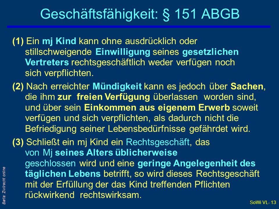 SoWi VL- 13 Barta: Zivilrecht online Geschäftsfähigkeit: § 151 ABGB (1) Ein mj Kind kann ohne ausdrücklich oder stillschweigende Einwilligung seines g