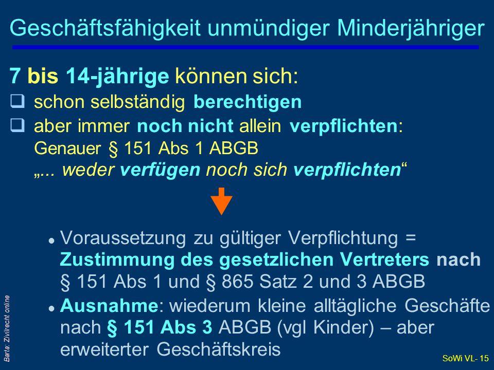 SoWi VL- 15 Barta: Zivilrecht online Geschäftsfähigkeit unmündiger Minderjähriger 7 bis 14-jährige können sich: qschon selbständig berechtigen qaber i