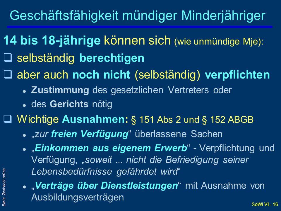 SoWi VL- 16 Barta: Zivilrecht online Geschäftsfähigkeit mündiger Minderjähriger 14 bis 18-jährige können sich (wie unmündige Mje): qselbständig berech