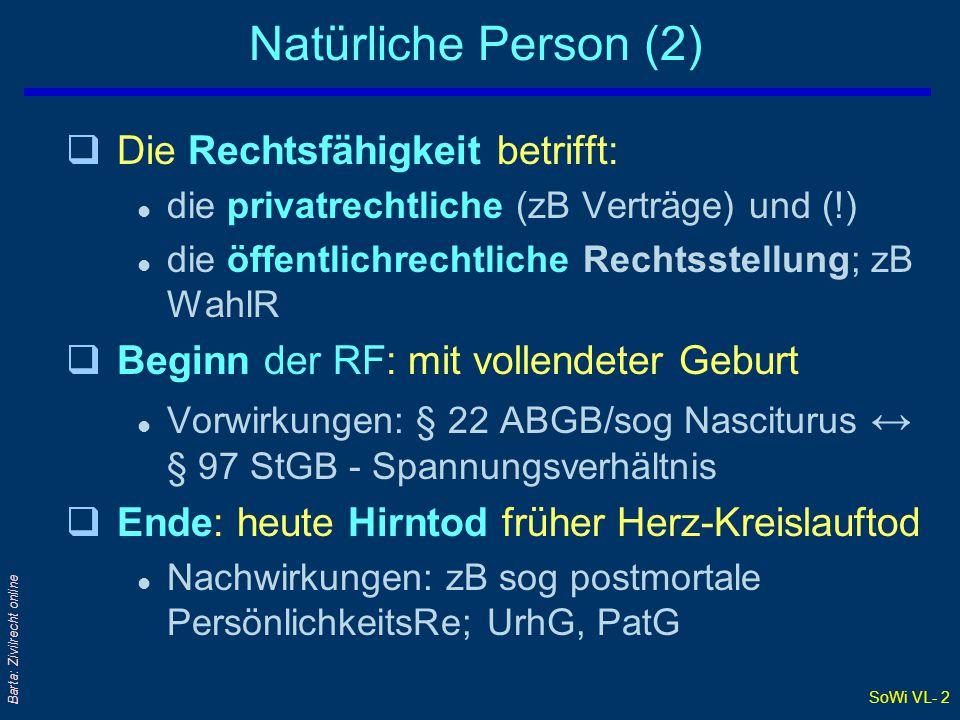 SoWi VL- 2 Barta: Zivilrecht online Natürliche Person (2) qDie Rechtsfähigkeit betrifft: l die privatrechtliche (zB Verträge) und (!) l die öffentlich