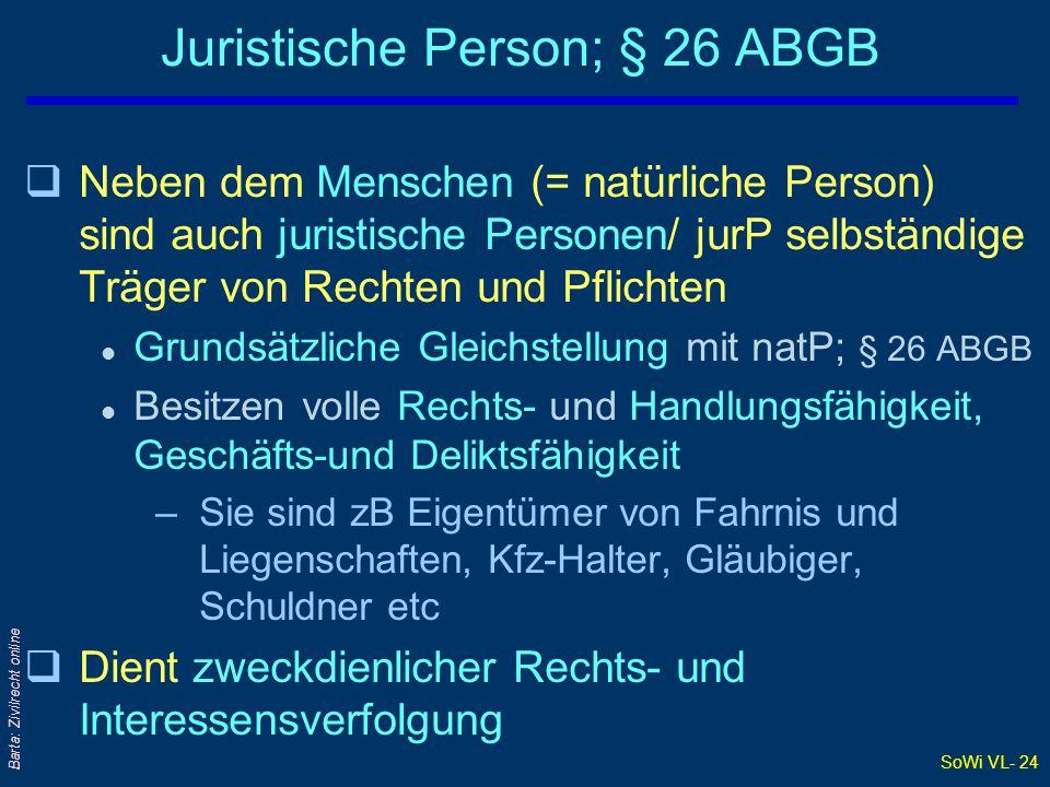 SoWi VL- 24 Barta: Zivilrecht online Juristische Person; § 26 ABGB qNeben dem Menschen (= natürliche Person) sind auch juristische Personen/ jurP selb