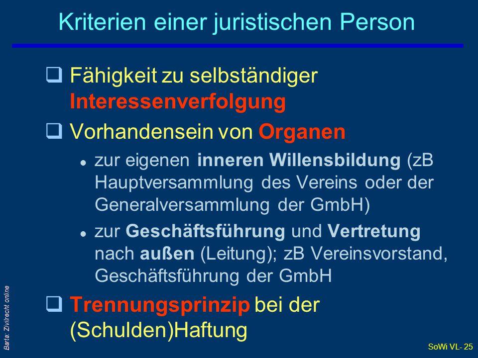 SoWi VL- 25 Barta: Zivilrecht online Kriterien einer juristischen Person qFähigkeit zu selbständiger Interessenverfolgung qVorhandensein von Organen l