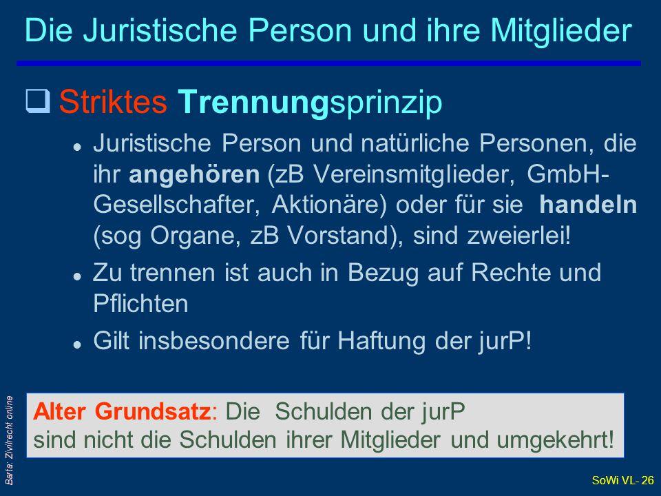 SoWi VL- 26 Barta: Zivilrecht online Die Juristische Person und ihre Mitglieder qStriktes Trennungsprinzip l Juristische Person und natürliche Persone