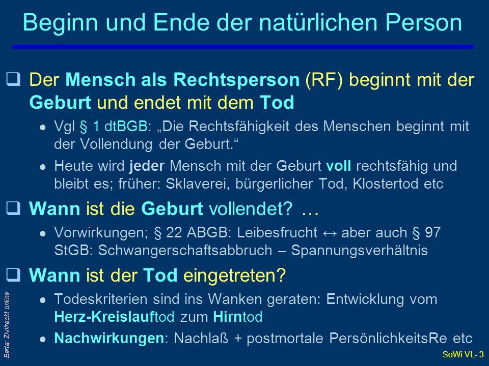 SoWi VL- 3 Barta: Zivilrecht online Beginn und Ende der natürlichen Person qDer Mensch als Rechtsperson (RF) beginnt mit der Geburt und endet mit dem