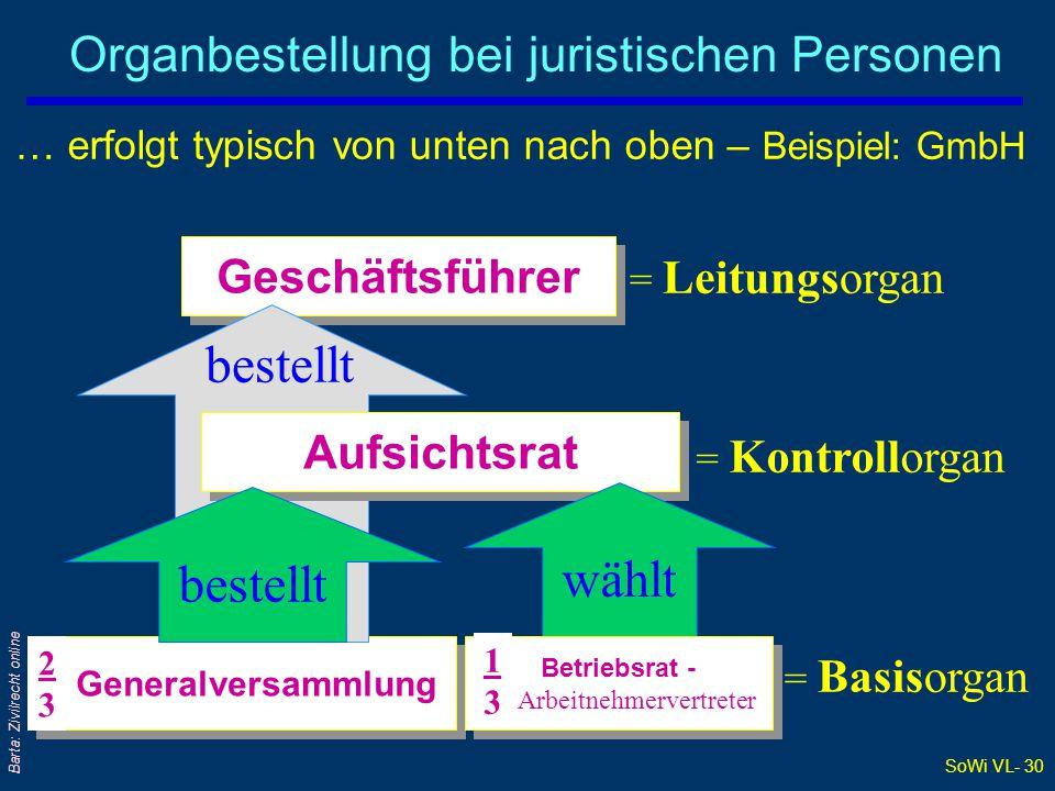 SoWi VL- 30 Barta: Zivilrecht online Organbestellung bei juristischen Personen = Leitungsorgan = Kontrollorgan = Basisorgan … erfolgt typisch von unte