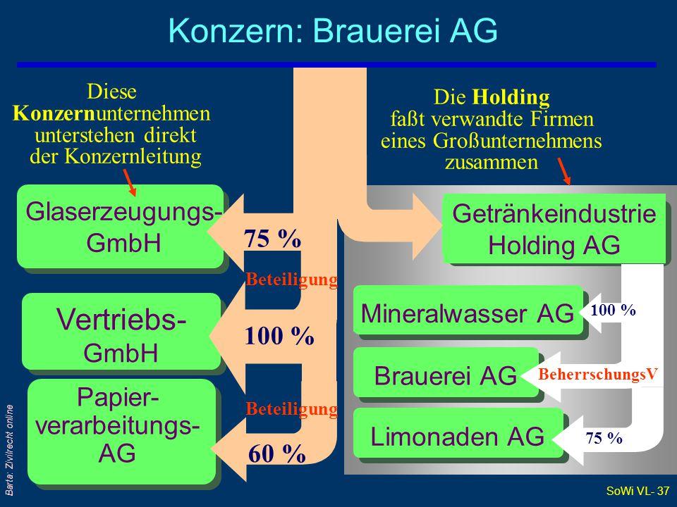 SoWi VL- 37 Barta: Zivilrecht online Brauerei AG Mineralwasser AG Konzern: Brauerei AG Diese Konzernunternehmen unterstehen direkt der Konzernleitung