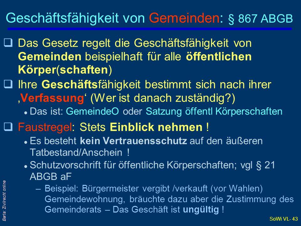 SoWi VL- 43 Barta: Zivilrecht online Geschäftsfähigkeit von Gemeinden: § 867 ABGB qDas Gesetz regelt die Geschäftsfähigkeit von Gemeinden beispielhaft