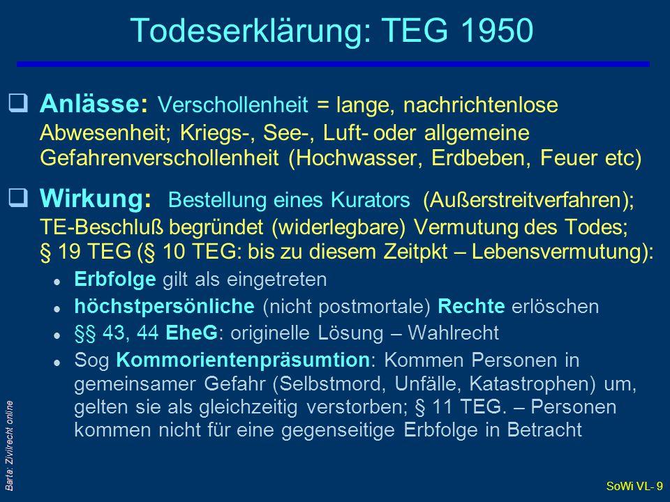 SoWi VL- 9 Barta: Zivilrecht online Todeserklärung: TEG 1950 qAnlässe: Verschollenheit = lange, nachrichtenlose Abwesenheit; Kriegs-, See-, Luft- oder