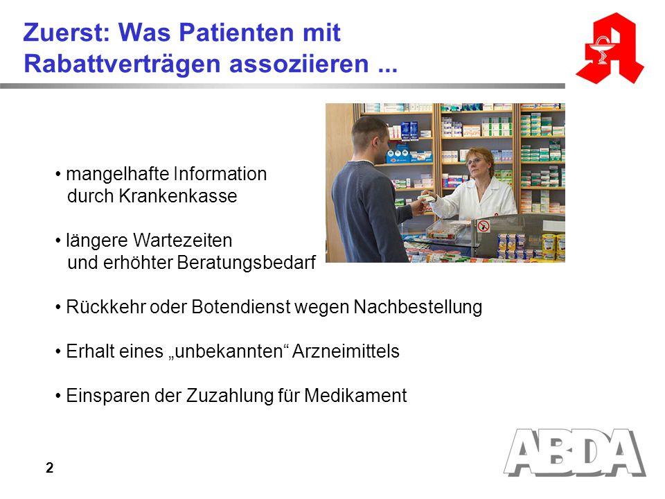 2 Zuerst: Was Patienten mit Rabattverträgen assoziieren... mangelhafte Information durch Krankenkasse längere Wartezeiten und erhöhter Beratungsbedarf