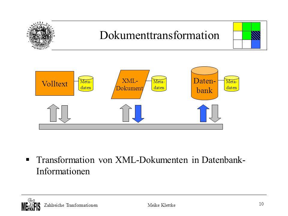 Zahlreiche TranformationenMeike Klettke 10 Dokumenttransformation  Transformation von XML-Dokumenten in Datenbank- Informationen Volltext Daten- bank XML- Dokument Meta- daten Meta- daten Meta- daten