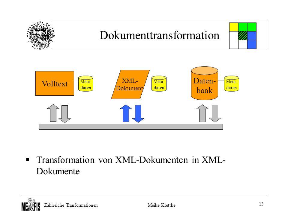 Zahlreiche TranformationenMeike Klettke 13 Dokumenttransformation  Transformation von XML-Dokumenten in XML- Dokumente Volltext Daten- bank XML- Dokument Meta- daten Meta- daten Meta- daten