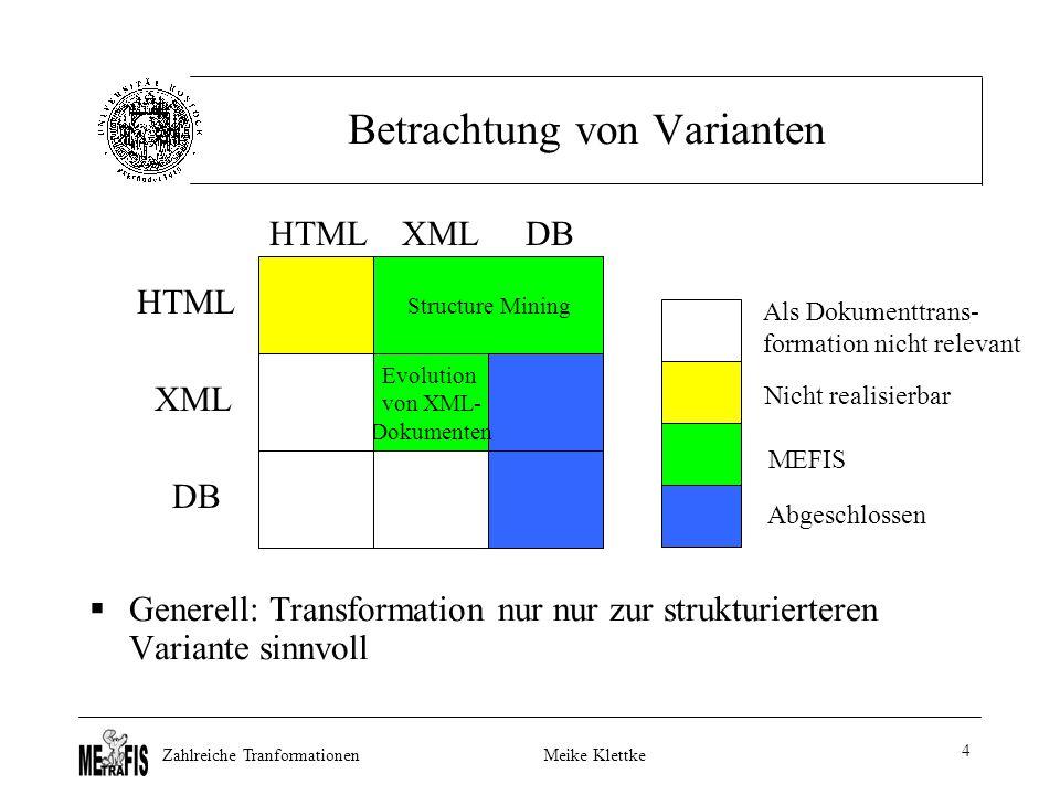 Zahlreiche TranformationenMeike Klettke 4 Betrachtung von Varianten  Generell: Transformation nur nur zur strukturierteren Variante sinnvoll Evolution von XML- Dokumenten HTML XML DB HTMLXMLDB Als Dokumenttrans- formation nicht relevant Nicht realisierbar Abgeschlossen MEFIS Structure Mining