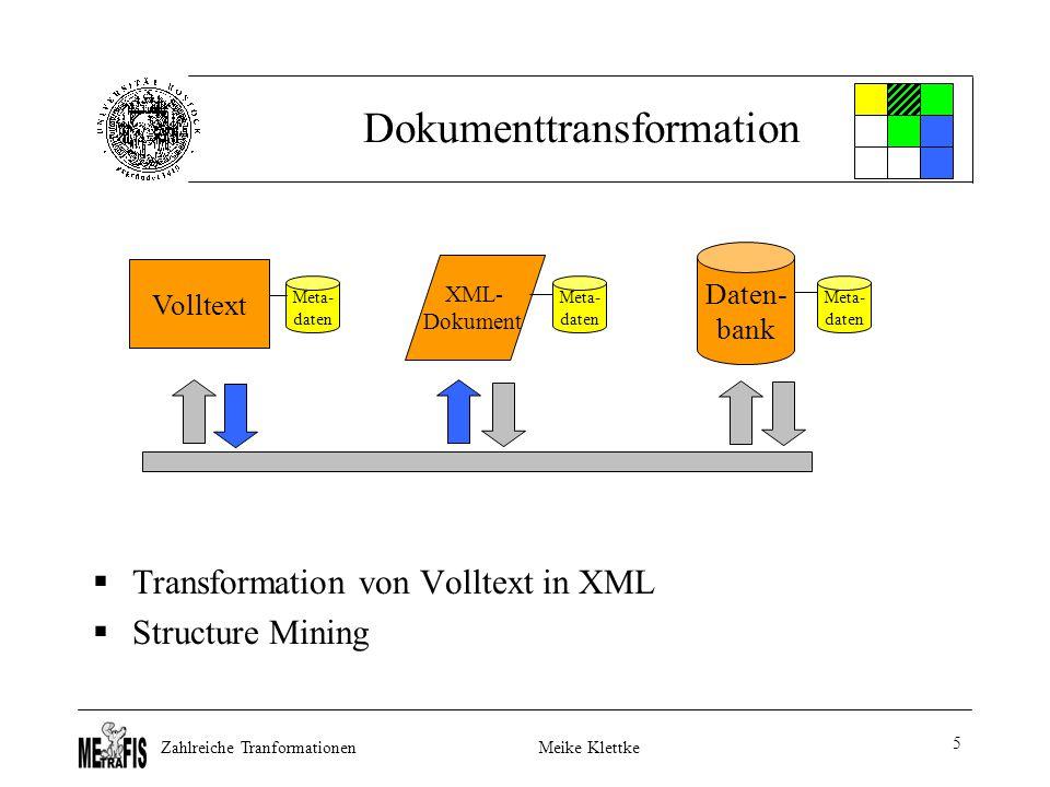 Zahlreiche TranformationenMeike Klettke 5 Dokumenttransformation  Transformation von Volltext in XML  Structure Mining Volltext Daten- bank XML- Dokument Meta- daten Meta- daten Meta- daten