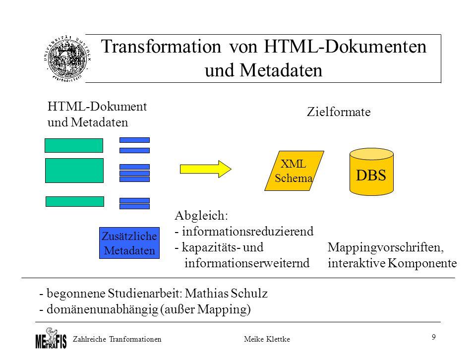Zahlreiche TranformationenMeike Klettke 9 Transformation von HTML-Dokumenten und Metadaten Zusätzliche Metadaten DBS XML Schema Abgleich: - informationsreduzierend - kapazitäts- und informationserweiternd Mappingvorschriften, interaktive Komponente - begonnene Studienarbeit: Mathias Schulz - domänenunabhängig (außer Mapping) HTML-Dokument und Metadaten Zielformate