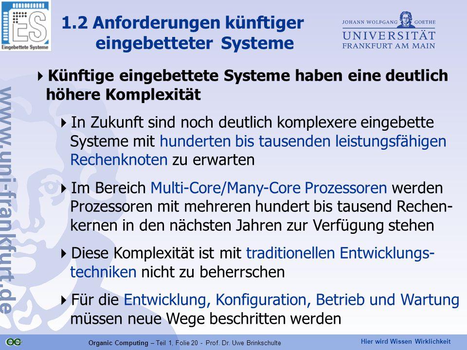 Hier wird Wissen Wirklichkeit Organic Computing – Teil 1, Folie 20 - Prof. Dr. Uwe Brinkschulte  Künftige eingebettete Systeme haben eine deutlich hö